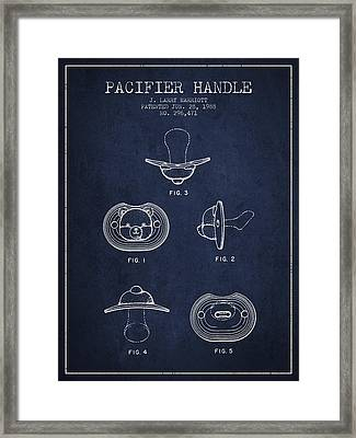 Pacifier Handle Patent From 1988 - Navy Blue Framed Print by Aged Pixel