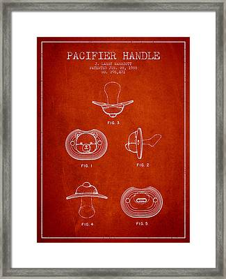 Pacifier Handle Patent From 1988 - Red Framed Print by Aged Pixel