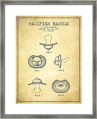 Pacifier Handle Patent From 1988 - Vintage Framed Print by Aged Pixel