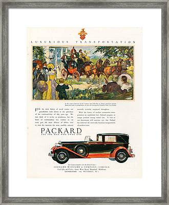 Packard 1930 1930s Usa Cc Cars Horses Framed Print by The Advertising Archives