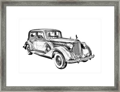 Packard Luxury Antique Car Illustration Framed Print by Keith Webber Jr