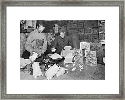 Packing Antarctic Sledging Rations Framed Print