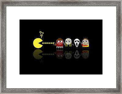 Pacman Horror Movie Heroes Framed Print by NicoWriter