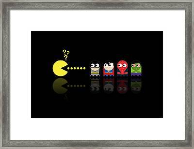 Pacman Superheroes Framed Print by NicoWriter