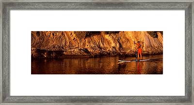 Paddle-boarder In River, Santa Barbara Framed Print by Panoramic Images