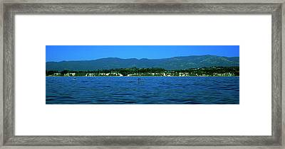 Paddle Boarder In The Ocean, Santa Framed Print by Panoramic Images