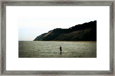 Paddle Boarding Along Dunes Framed Print by Michelle Calkins