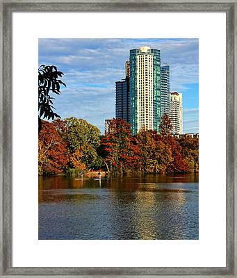 Paddle Boarding In Austin Framed Print by Judy Vincent