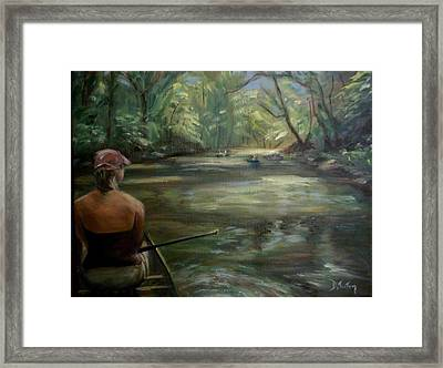 Framed Print featuring the painting Paddle Break by Donna Tuten