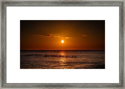 Paddle Into The Sunset In Hawaii Framed Print