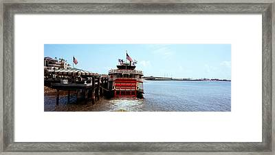 Paddleboat Natchez In A River Framed Print by Panoramic Images