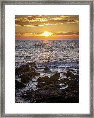 Paddlers At Sunset Portrait Framed Print