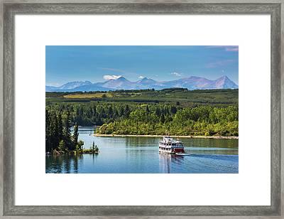 Paddlewheel Boat On Lake With Tree Framed Print
