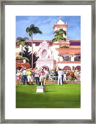 Paddock At Del Mar Framed Print by Mary Helmreich