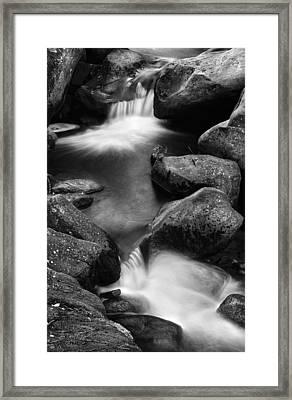 Padley Gorge Falls In Mono Framed Print