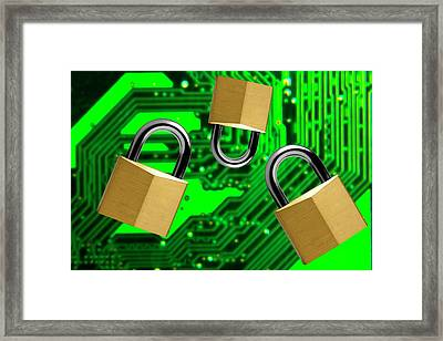 Padlocks And A Circuit Board Framed Print by Victor De Schwanberg
