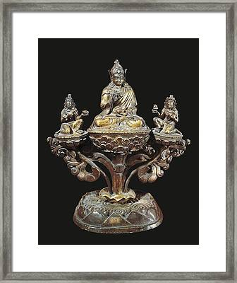Padmasambhava And His Wives. 17th Framed Print by Everett