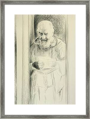 Padre Pio, 1988-89 Charcoal On Paper Framed Print