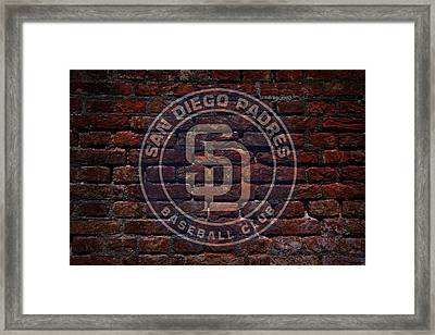 Padres Baseball Graffiti On Brick  Framed Print by Movie Poster Prints