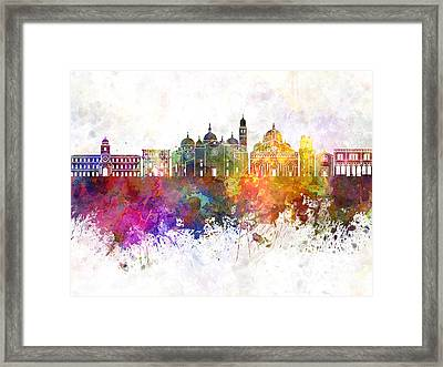 Padua Skyline In Watercolor Background Framed Print by Pablo Romero