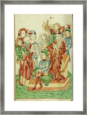 Pagan And Christian Scholars Debating Before King Avenir Framed Print by Litz Collection