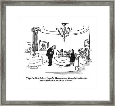 Page 1 Is 'best-sellers.'  Page 2 Is 'advice Framed Print by George Booth