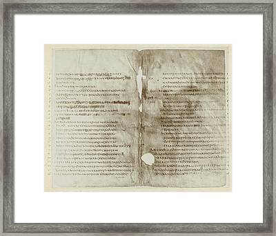 Page From A Manuscript On Parchment, Jan Goedeljee Framed Print by Artokoloro