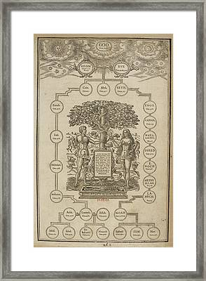 Page Of Biblical Genealogies Framed Print by British Library
