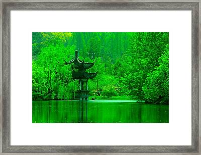 Pagoda On West Lake Framed Print by Larry Moloney