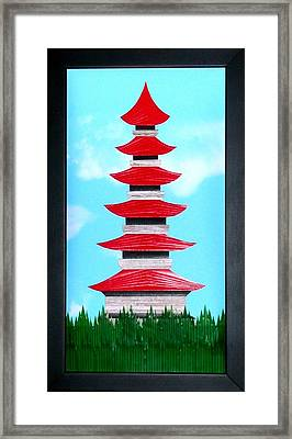 Framed Print featuring the mixed media Pagoda by Ron Davidson