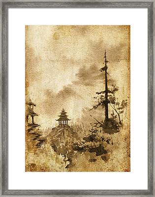Framed Print featuring the painting Pagoda Valley Altered by Sean Seal