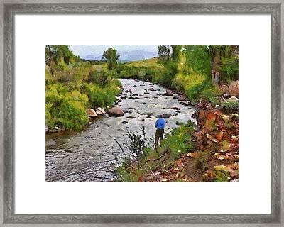 Pagosa Springs Colorado Fisherman Framed Print