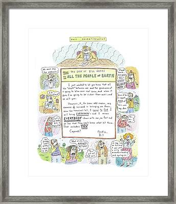 'paid Advertisement' Framed Print by Roz Chast