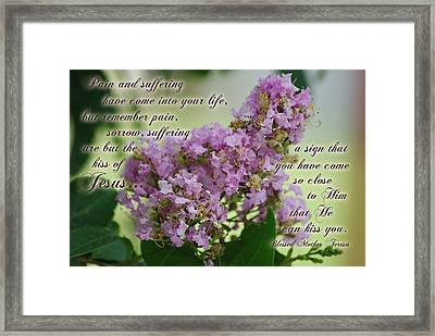 Pain And Suffering Kiss Of Jesus Framed Print