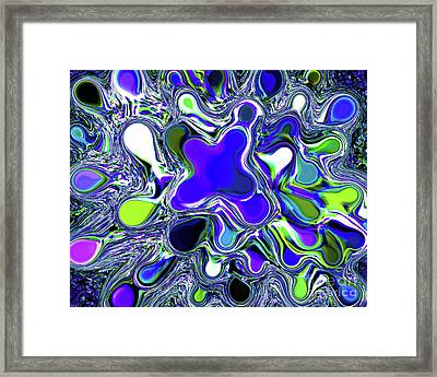 Paint Ball Color Explosion Blue Framed Print by Andee Design