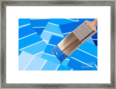 Paint Brush - Blue Framed Print by Amanda Elwell
