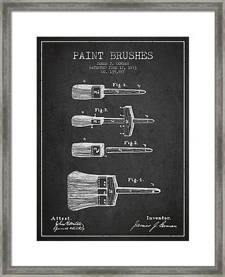 Paint Brushes Patent From 1873 - Charcoal Framed Print by Aged Pixel