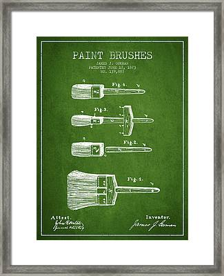 Paint Brushes Patent From 1873 - Green Framed Print by Aged Pixel