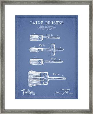 Paint Brushes Patent From 1873 - Light Blue Framed Print by Aged Pixel