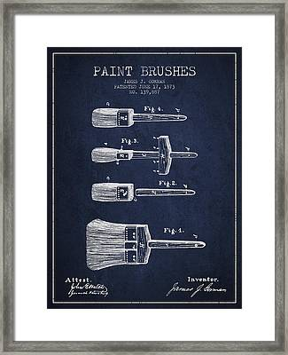 Paint Brushes Patent From 1873 - Navy Blue Framed Print by Aged Pixel