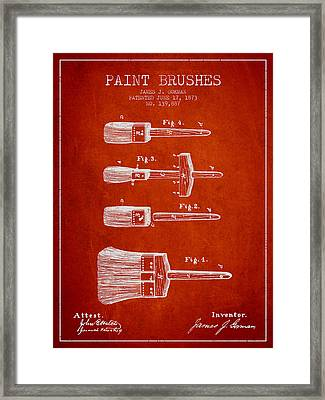 Paint Brushes Patent From 1873 - Red Framed Print by Aged Pixel