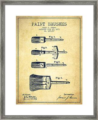 Paint Brushes Patent From 1873 - Vintage Framed Print by Aged Pixel