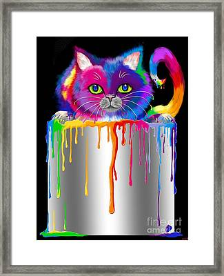 Paint Can Cat Framed Print