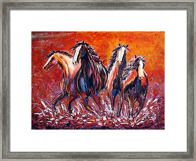 Framed Print featuring the painting Paint Horse Stampede by Jennifer Godshalk