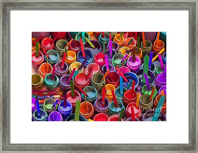 Paint Jars Popsicle Stix Framed Print by Alixandra Mullins