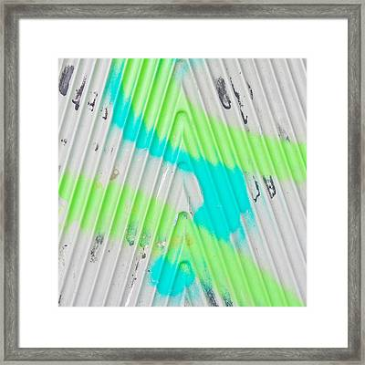 Paint Lines On Metal Framed Print by Tom Gowanlock