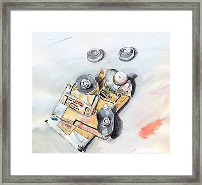 Framed Print featuring the painting Paint Tubes by Katherine Miller