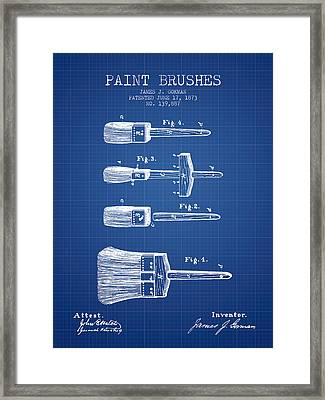 Paintbrushes Patent From 1873 - Blueprint Framed Print by Aged Pixel