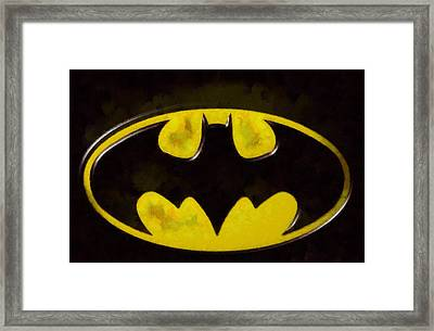 Painted Batman Logo Framed Print by Dan Sproul