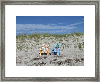 Painted Beach Chairs Framed Print by Ellen Meakin